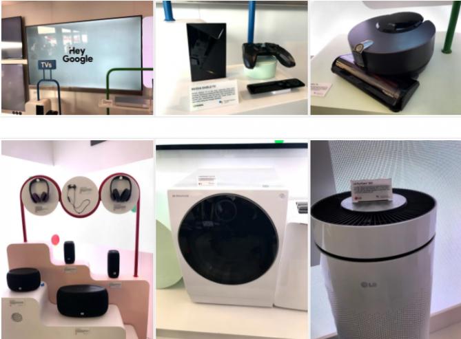 미국 라스베거스에서 열린 CES 2018 구글 부스에 구글 어시스턴트를 탑대한 다양한 기기들이 전시되어 있다. - 심재석 제공